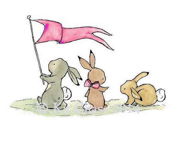Baby Art Bunny Parade Art Print por trafalgarssquare en Etsy