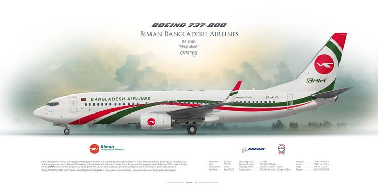 Boeing 737-800 Biman Bangladesh Airlines   Highly Detailed Profile Prints www.aviaposter.com  #airliners #aviation #jetliner #airplane #pilot #aviationlovers #avgeek #jet #sideplane #airport