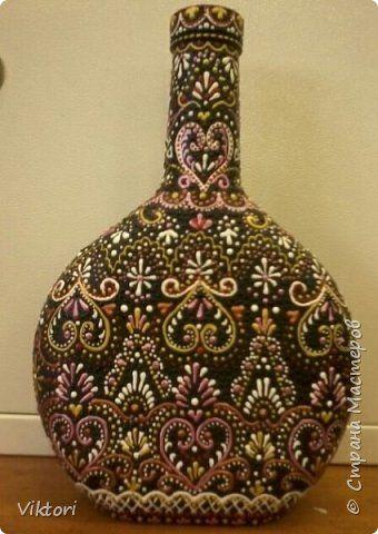 Поделка изделие Роспись Ещё бутылка расписная Бутылки стеклянные фото 1