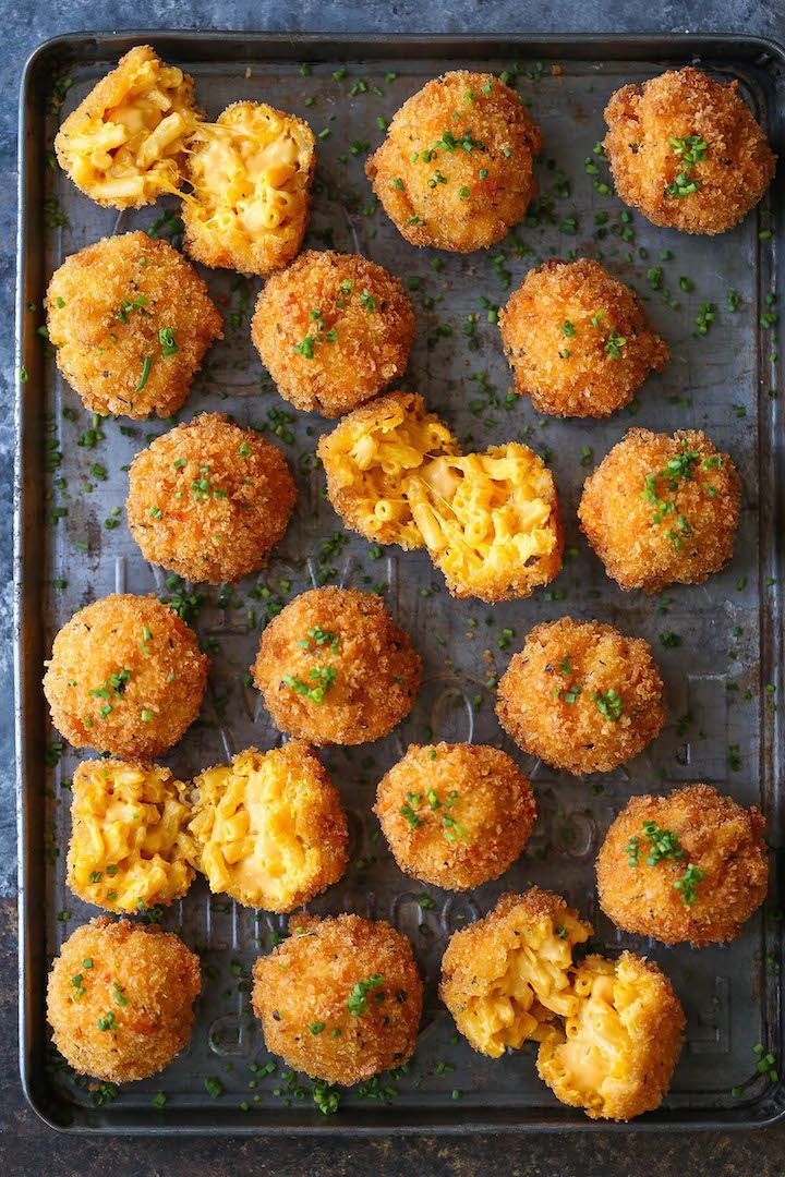 Fried Mac and Cheese Balls. Crisp on the outside yet so soft, creamy and cheesy on the inside.