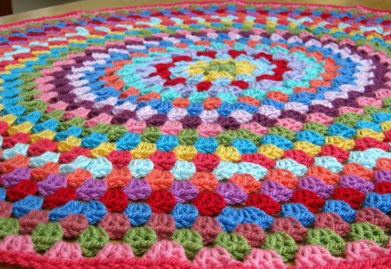 Circular Granny Stripe Crochet Blanket Afghan by Thesunroomuk