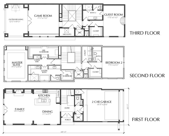 3 Story Floor Plans: Dallas Townhouse Floor Plans For Sale