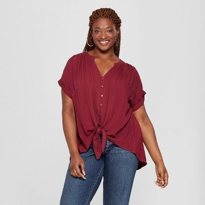 ec6ef8b6479e23 Find product information, ratings and reviews for Women's Plus Size Tie  Front Short Sleeve Blouse - Universal Thread™ online on Target.com.
