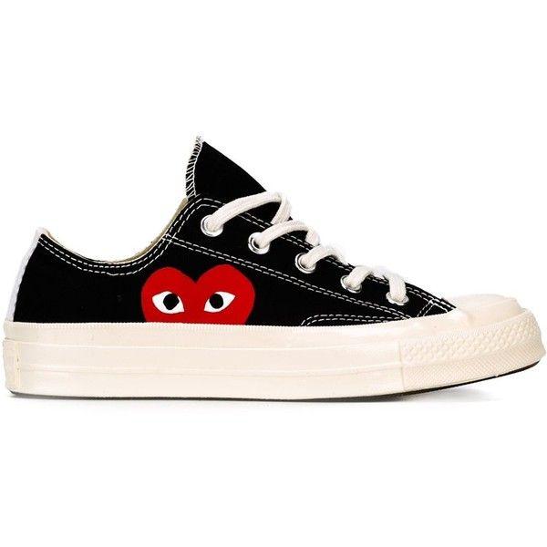 Comme Des Garçons Play Comme Des Garçon Play x Converse 'Chuck Taylor... ($211) ❤ liked on Polyvore featuring shoes, sneakers, black, black shoes, print sneakers, lacing sneakers, low shoes and black laced shoes