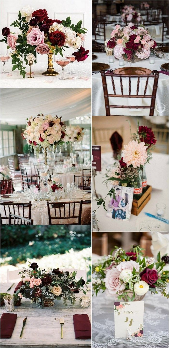 Trending 15 Gorgeous Burgundy And Blush Wedding Bouquet Ideas Oh Best Day Ever Flower Centerpieces Wedding Blush Wedding Reception Burgundy And Blush Wedding