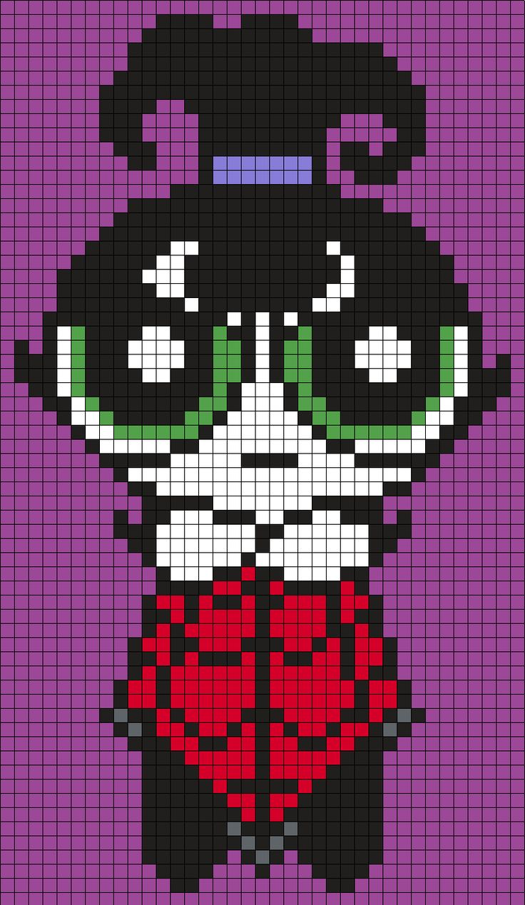 Buttercup From The Powerpuff Girls As Lydia From Beetlejuice - Halloween Perler Bead Pattern