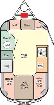 Scamp floor plan 16ft Deluxe layout