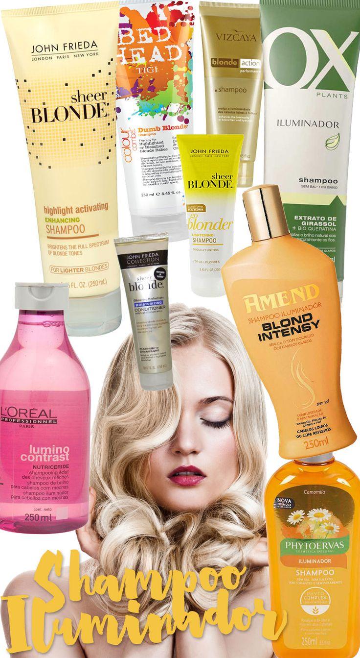 Shampoo iluminador para cabelos loiros, com luzes ou mechas: eles realçam o tom do loiro, destacam as mechas, iluminam e dão muito brilho aos seus cabelos!