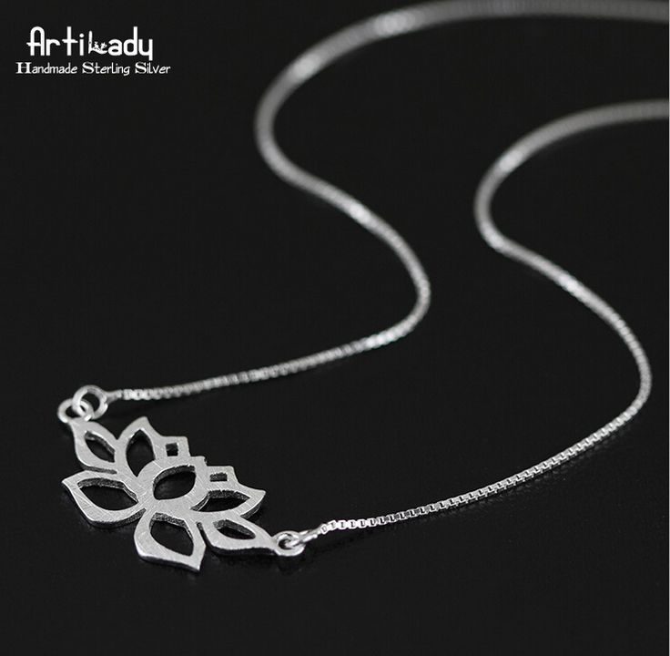 Artilady 925 sterling silver lotus pendant necklace for women jewelry art style hollow out necklace for women jewelry