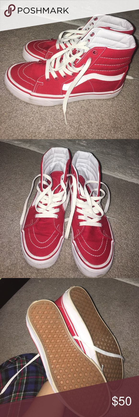 Vans skate hi's in red Worn for a few hours, almost perfect condition. Vans Shoes Sneakers