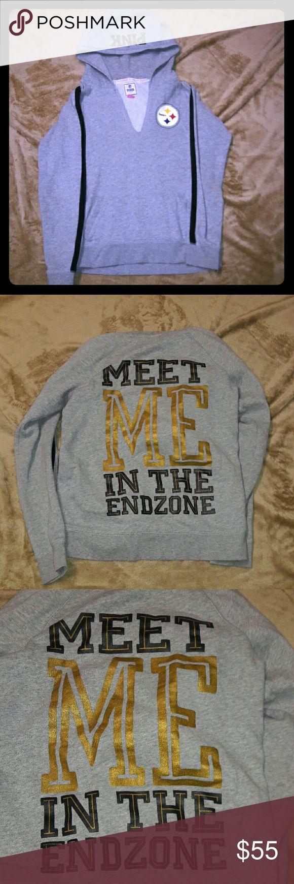 "VS PINK Steelers Hoodie ""MEET ME IN THE END ZONE"" on the back in black & gold of course. PINK Victoria's Secret Tops Sweatshirts & Hoodies"