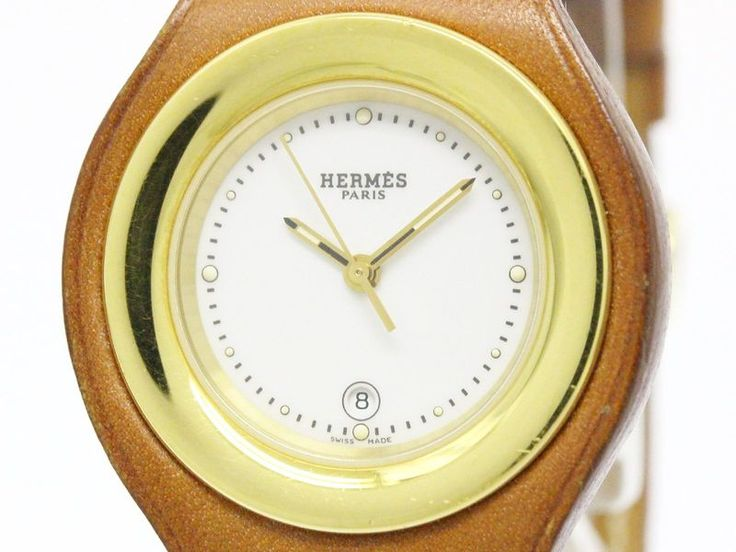 #HERMES Harnais Steel Leather Quartz  Ladies Watch HA1.220 (BF107823): #eLADY global offers free shipping worldwide. For more pre-owned luxury brand items, visit http://global.elady.com