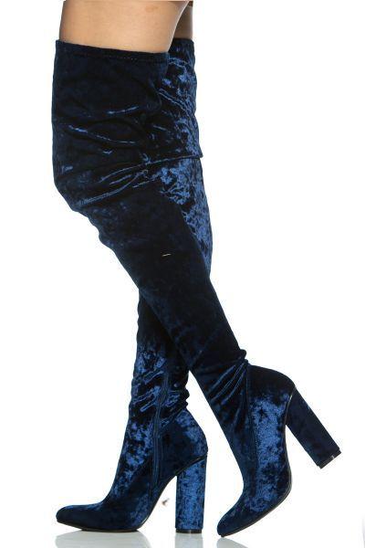 Royal Blue Velvet Chunky Thigh High Boots