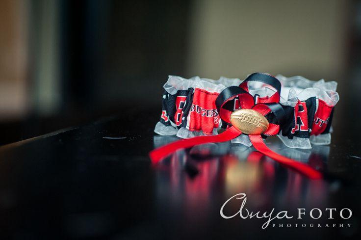anyafoto.com, #wedding, wedding garters, bridal garters, ribbon wedding garters, red ribbon wedding garters, football wedding garters, rutgers wedding garter