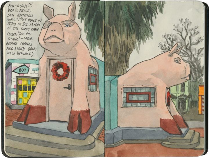 Frank's Hog Stand, the (now-defunct) pig-shaped (and therefore actually a Duck) BBQ in San Antonio.