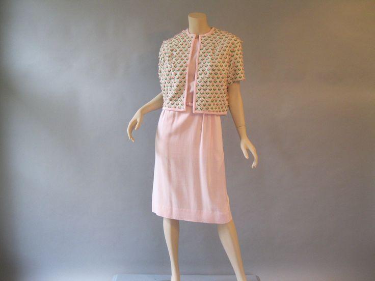 60s Dress and Jacket, Pink Cotton Dress, Rose Knit Bolero, Belt, 1960s Dress Set,Size M, Wedding Guest Dress, Resort Wear,Jackie Dress by LadyScarlettsVintage on Etsy