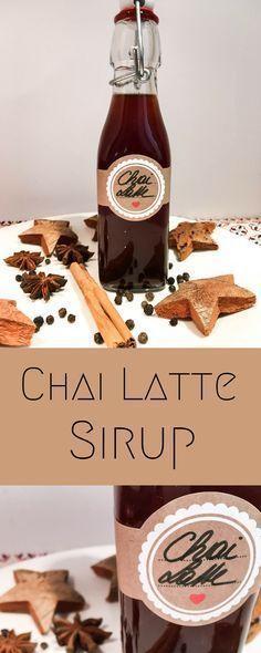 #Chai #Latte #Sirup #DIY Tolle DIY Geschenkidee zum Verschenken an Weihnachten. Selbstgemachtes Geschenk aus der Küche mit Kindern.