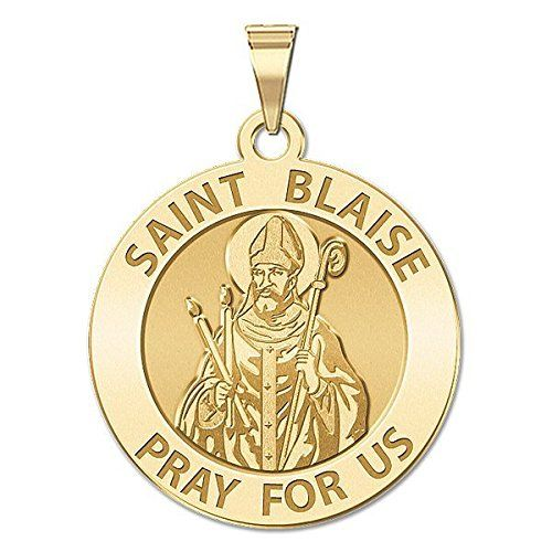 Saint Blaise Religious Medal - Available in Solid 10K And14K Yellow or White Gold, or Sterling Silver