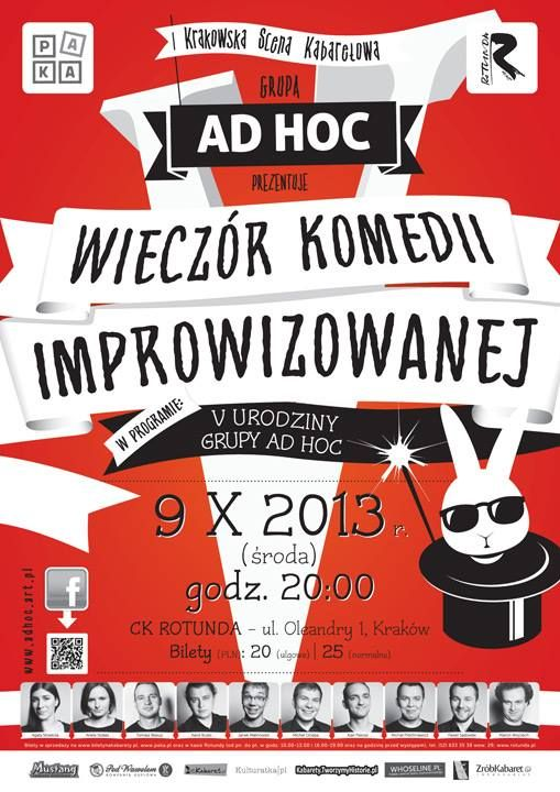 Nie macie planów na jutro? Proponujemy Wam Wieczór Komedii Improwizowanej! Są jeszcze ostatnie wejściówki, polecamy, gdyż w grupie AD HOC zobaczycie najzabawniejszych młodych kabareciarzy w Polsce! EksMagazyn poleca! #kabaret #komedia #adhoc #improwizacja #impreza