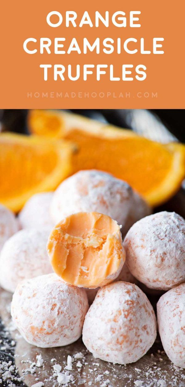 Orange Creamsicle Truffles! Delicious orange truffles that will remind you of all the creamsicle treats you had as a kid. Easy to make and a great snack for parties!   HomemadeHooplah.com