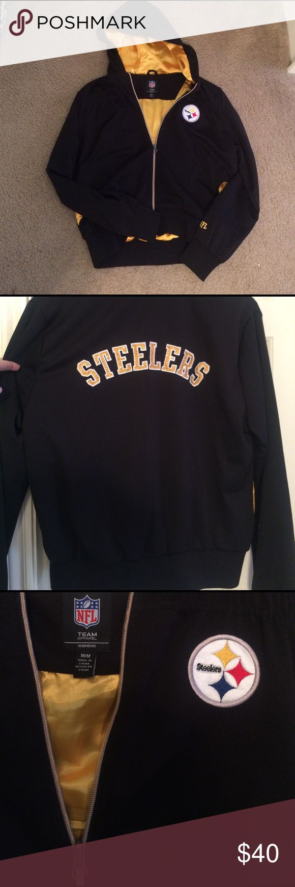 NFL Steelers zip up hoodie 💛🖤 Black and Gold NFL store Steelers zip up hoodie with glitzy logo along the back and gold interior NFL Jackets & Coats