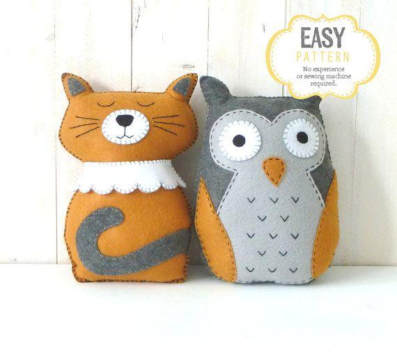 Gufo e Gatto farcito animali Patterns, Il gufo e la gattina, feltro Cat & Owl Patterns Plushie, giallo e grigio, facile a mano modelli di cucito