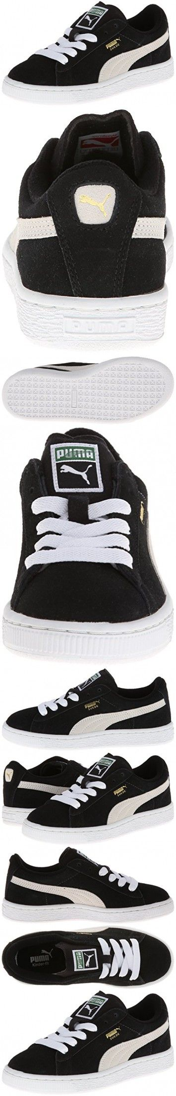 PUMA Suede Junior Sneaker (Little Kid/Big Kid) , Black/White, 4.5 M US Big Kid