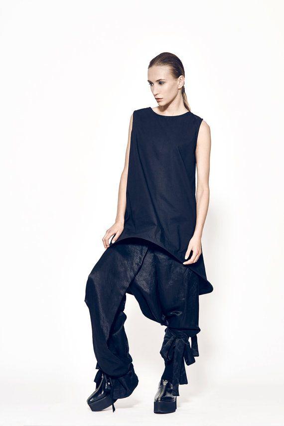 Schwarze Hosen Womens Harem Pants dekonstruiert von MariaQueenMaria