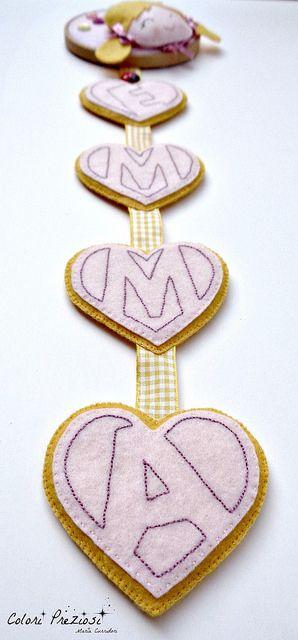 Hand-stitched picture with embroidered alphabet letters.  It's for Emma! ^_^ www.coloripreziosi.blogspot.com #handmade #bastidor #feltro #feltroepannolenci #emma