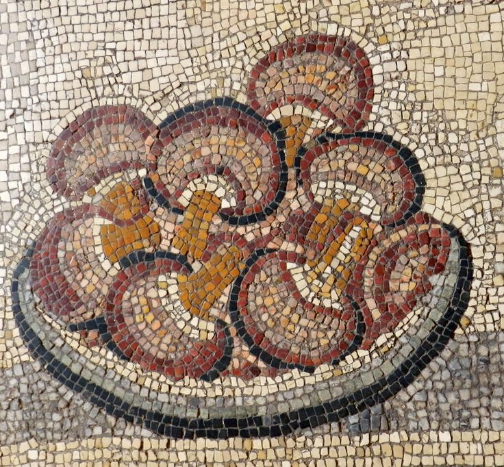 Plate of mushrooms. Floor detail from Vatican Museum, Rome. Photo: Helen Miles Mosaics
