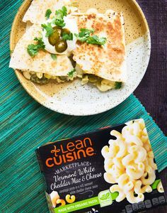 Try out this Lean Cuisine food hack for our Vermont White Cheddar Mac 'n' Cheese recipe. Sprinkle with sliced jalapeños and onions and sandwich between two flour tortillas for a quirky quesadilla.