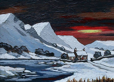 David BARNES - Winter Sun in Gwynedd - Winter landscape paintings by British artists at www.redraggallery.co.uk