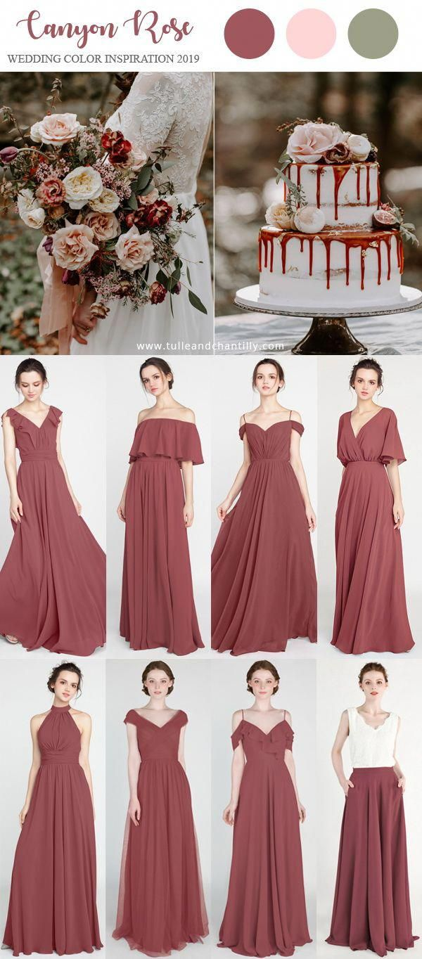 Canyon Rose Wedding Color Inspiration Ides With Bridesmaid Dresses 2019 Wedding W Rose Bridesmaid Dresses Short Bridesmaid Dresses Wedding Color Inspiration