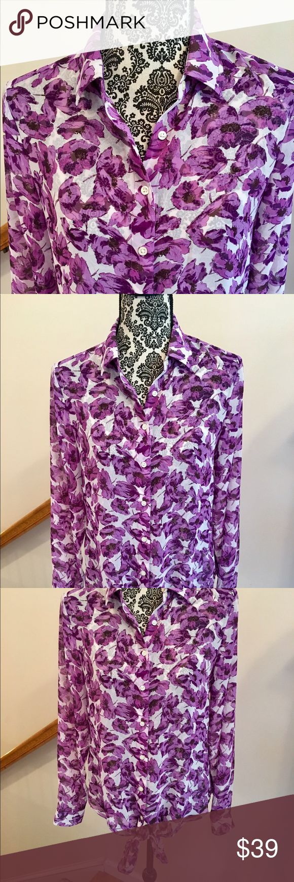 Banana Republic Front Tie Sheer Blouse🎉 Fabulous Banana Republic button front sheer blouse with front tie at the bottom.  100% Polyester.  White background with beautiful purple flower pattern.  Great with a purple cami underneath. Worn only twice. Excellent condition. Banana Republic Tops