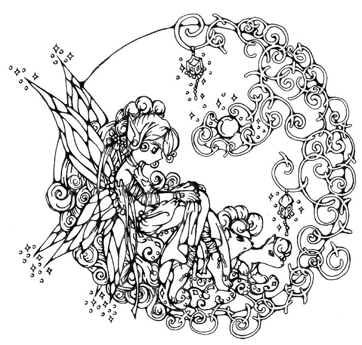 mandala like fairy fantasy coloring page here you find free printable fairy coloring pages for adults