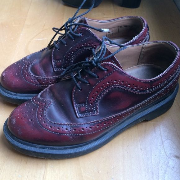 Sale! Only today!Wingtip burgundy Dr martens. UK 4 Closet closed until 02/13. Unique. Sold out. Made in England. Burgundy wingtip Dr. Martens. UK 4. These are hard to find. Worn and broken in, but with plenty more life to go. Dr. Martens Shoes Flats & Loafers