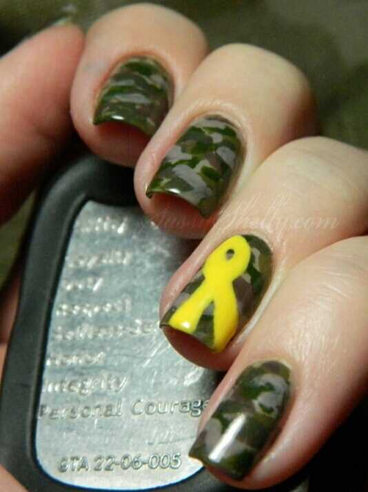 Support Our Troops! Camouflage Nail Art  from SassyShelly.com