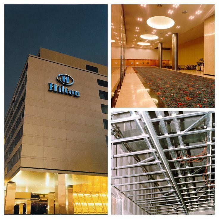 Hilton Hotel: etapa de construcción (abajo) y terminación (arriba) de cielorrasos realizados en Construcción en Seco con sistema Knauf. Fotógrafo: Alejandro Leveratto