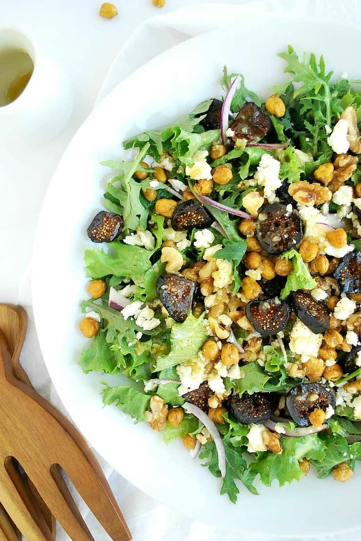 Roasted chickpeas add a savory crunch to this Mediterranean inspired Fig and Fet…   – +Awesome Real Food, Green Living+