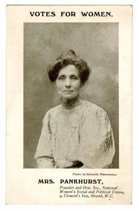 Postcard of Emmeline Pankhurst, Founder and Honorary Secretary of the Women's Social and Political Union.