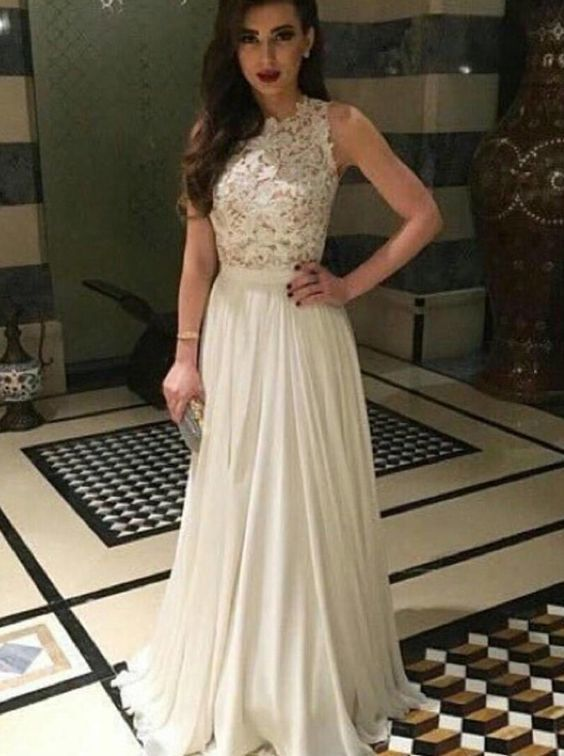 Cute ivory lace chiffon modest prom dress, long evening dress for prom 2016
