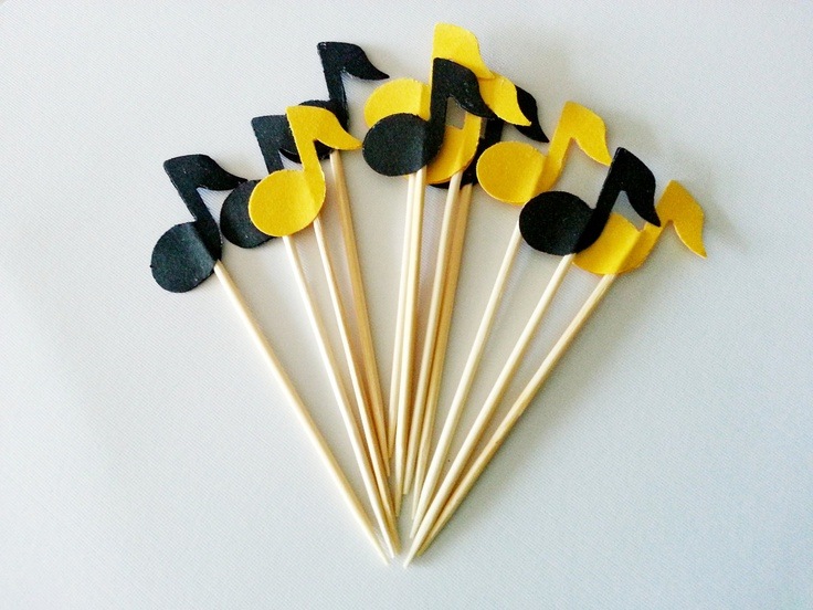 12 MUSIC NOTE Party Picks / Cupcake Toppers /  Cocktail Sticks. $1.75, via Etsy.