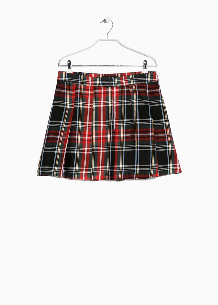 Plaid pleated skirt - MANGO