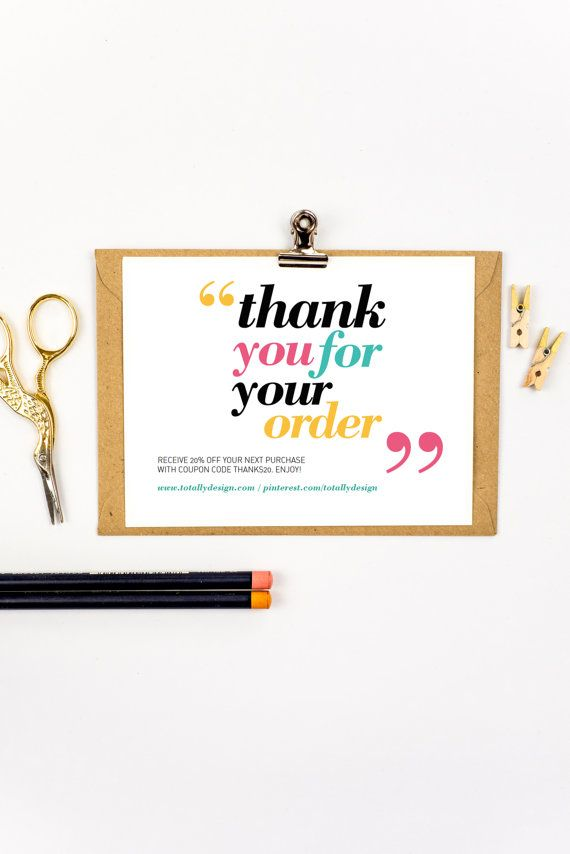 NEW thank you for your order card printable. Instantly download, customize and begin printing within minutes!