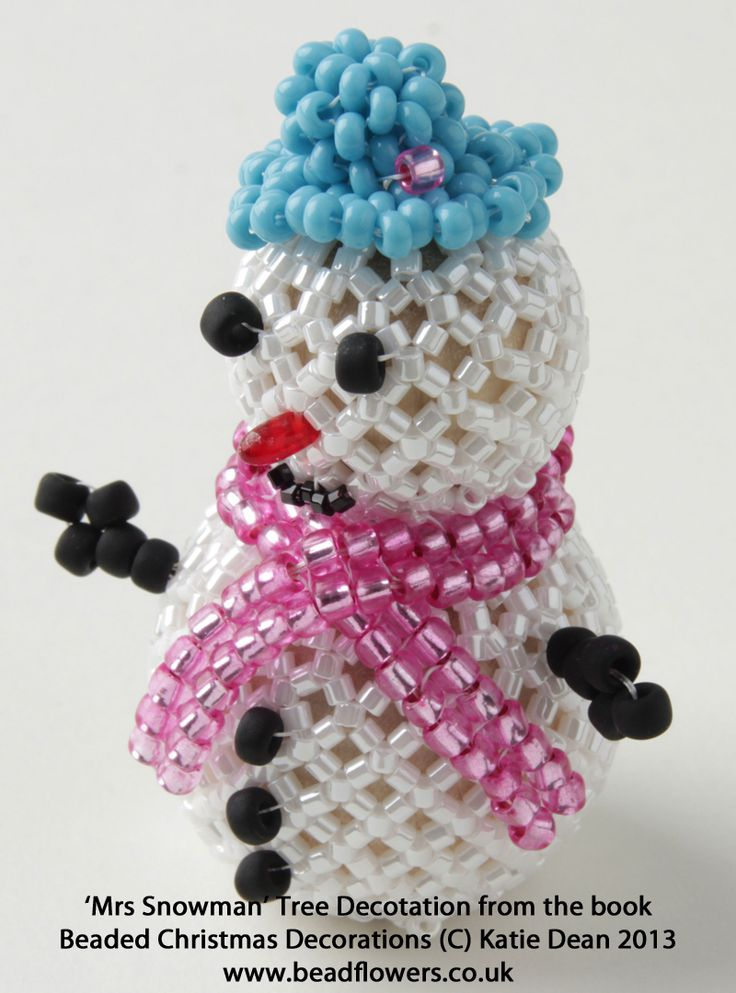 Mrs Snowman beaded Christmas Tree Decoration from the book Beaded Christmas Decorations by Katie Dean