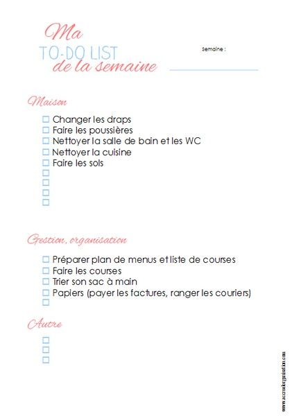 to do list semaine