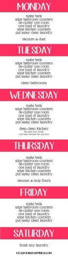 DIY Cleaning Schedule