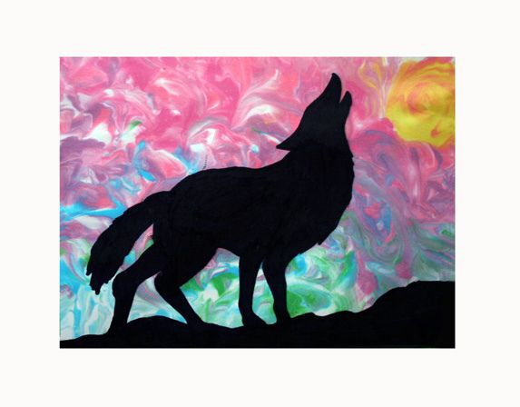 SILHOUETTES-SHAVING CREAM PRINT    COURTNEY GR. 10-Of all the art projects we have done so far, this was by far every ones favorite! These older students did a great job of planning their colours to get suns, sunrises, a warm or cool look etc.