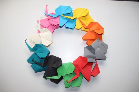 Große Origami Elefanten / bunten Papier Elefanten / 10er-Set