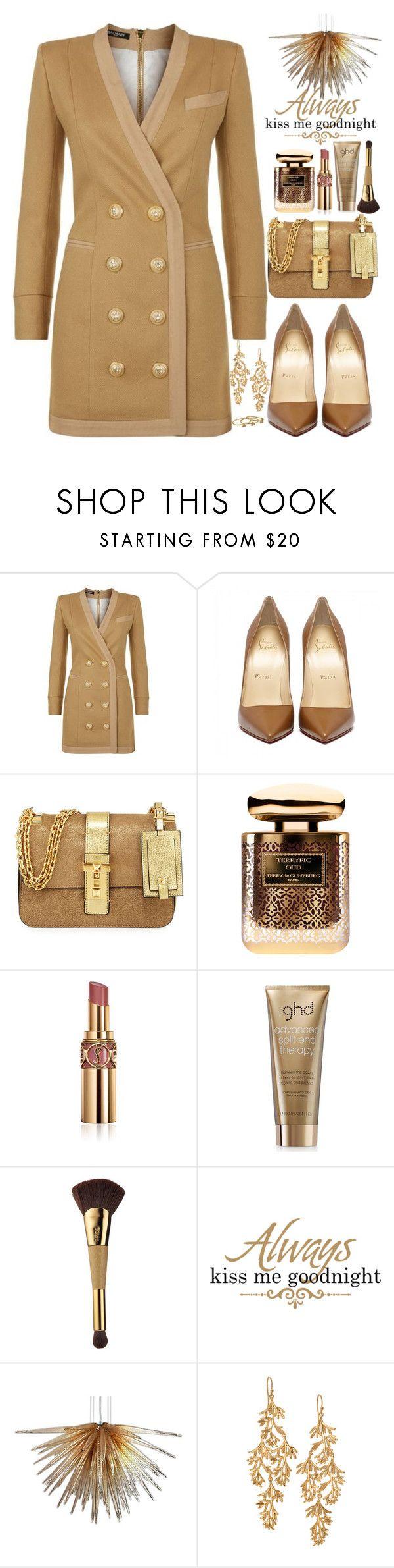 """Brown Short Dress - Balmain"" by bmaroso ❤ liked on Polyvore featuring Balmain, Valentino, Terry de Gunzburg, Yves Saint Laurent, GHD, tarte, Viz Glass, Stella & Dot and Gorjana"